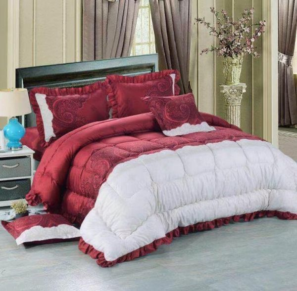 Good Night King Size Bed Comforter Set Bed In A Bag Red Color 6
