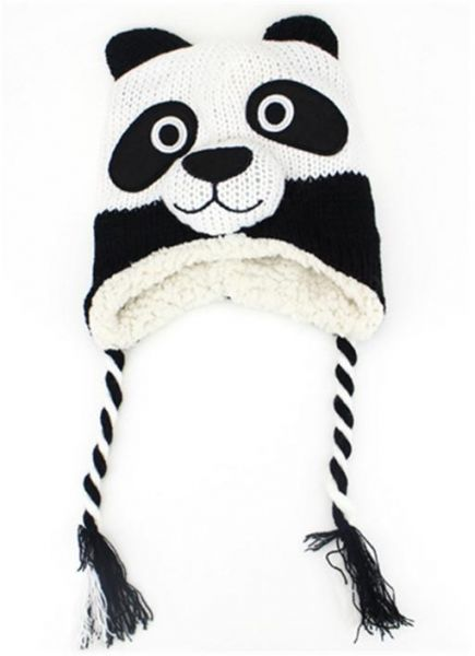 a648e1a631c panda Baby Hat with Ears Cartoon Winter Baby Bonnet Knit Elastic Kids Hats  Infant Cap Christmas for 0-24 Months 1 PC