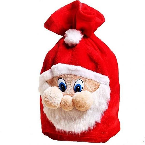 961cea44c390 Santa Pattern Gift Sack,Plush Fabric Candy Bag Wrap With Drawstring ...