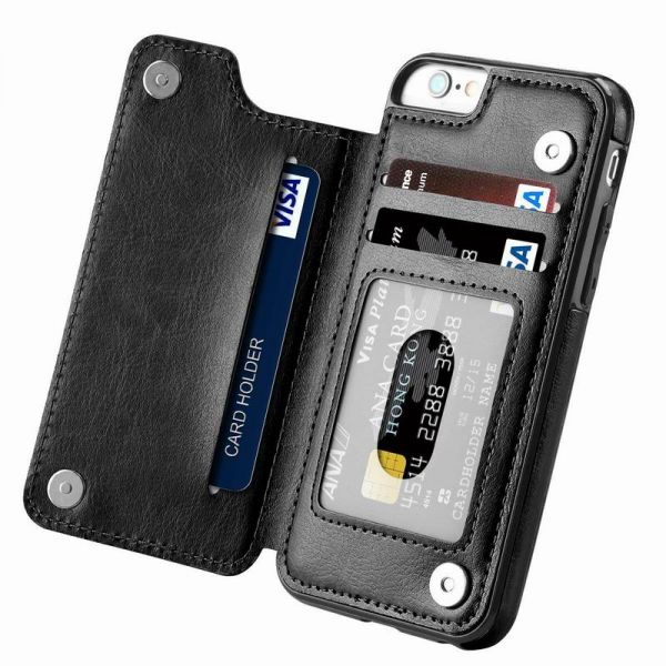 new product 70324 09312 iPhone 6 Plus case,iPhone 6s Plus Wallet Case with Card Holder Kickstand  Card Slots Shockproof Cover for iPhone 6 Plus/6s Plus Black