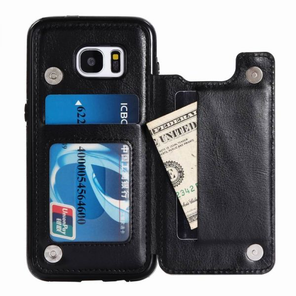 the best attitude c84e1 233b7 Samsung galaxy S7 Edge Wallet Case with Card Holder Kickstand Card Slots  Shockproof Cover for Galaxy S7 Edge Black
