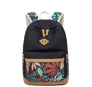 Nationality Canvas Student School Backpack Cute Printing leaf Laptop  Bookbag Women Casual Fation Travel Daypack Black 23f58331d8997