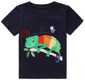 e4559f9bf6e05 Boy's animal Pattern Top Lizard Embroidered T-Shirt Cotton Short Sleeve