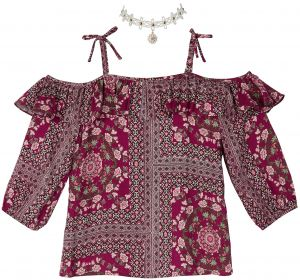 4ee2fb2d69d83 Amy Byer Big Girls  Off The Shoulder Top with Choker Necklace