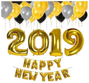 Gold Happy New Year Decorations 2019 Balloon Banner Silver Black And Years Eve Party Supplies Latex Balloons Foil Mirror Mylar Letter Celebration