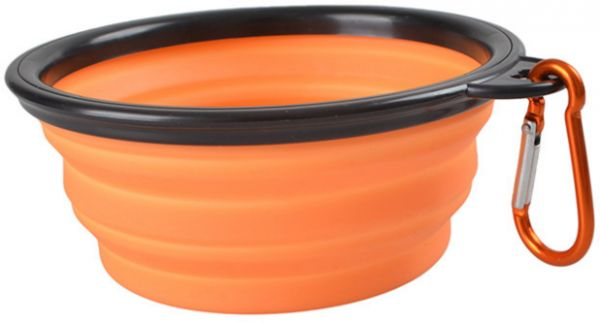 Silicone Dog Bowl, Foldable Expandable Cup Dish for Pet Cat Food Water Feeding Portable Travel and Camping Bowl  orange