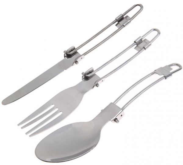 Cutlery Set Travel Camping Cutlery Set - Useful 3 in 1 Portable Outdoor Camping Survival Set Picnic Tableware Stainless Steel Folding Fork and Spoon Tab with Bag - Plastic Camping Fork