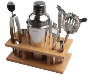 88a3761249c4 Mixer Barware Set Wooden Stand Set of 9 Sets Wine Cocktail Set 550ML  Stainless Steel Bar Tool Set Bartending Supplies Tools Wine Maker  Bartenders Kit For ...