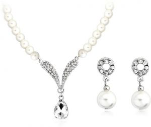 6d27ee7c6 Bridal Bridesmaid Wedding Jewelry Sets for Women Girl Necklace and Earrings  Set Pendant Simulated Pearl
