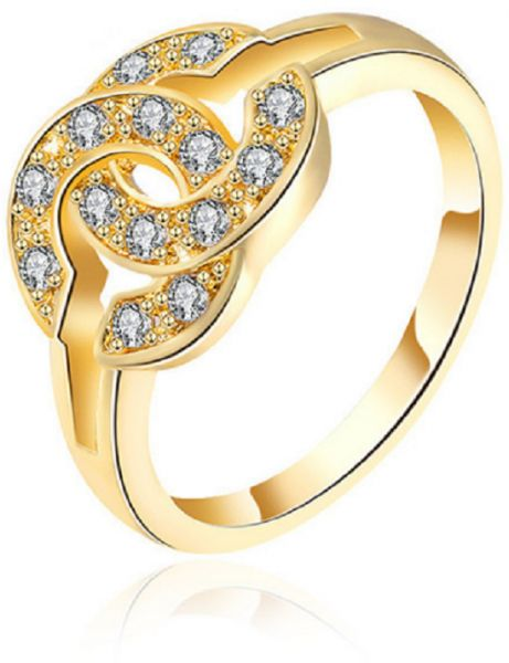18k Gold Plated Fashion Diamond Ring Engagement Wedding Ring For