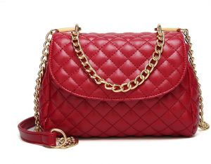 577b6921c63f Classic Crossbody Shoulder Bag for Women Quilted Purse With Metal Chain  Strap