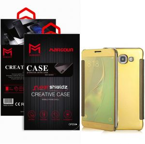 Margoun for Samsung Galaxy J7 Prime / G610F / G610F / G610M / G610Y / Galaxy On Nxt Flip Mirror Case Cover, Quick access to front and rear camera - Gold