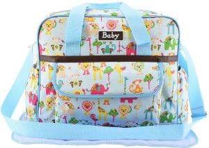 aa0908f257 Mutifunction Mummy Shoulder Bag Large Capacity Flower Print Baby Diaper  Nappy Bag - Blue