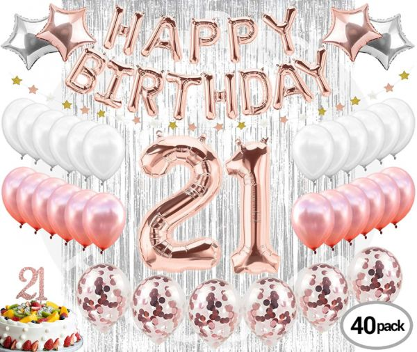 21st Birthday Decorations 21 Party Supplies Cake Topper Rose Gold Banner Confetti Balloons For HerFinally Legal