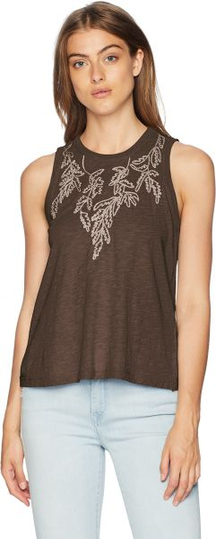 007251aa593dc Lucky Brand Women s Embroidered Leaf Ruched Back Tank Top