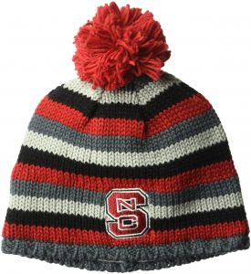 adidas NCAA North Carolina State Wolfpack Adult Men Textured Beanie Pom 314bee29ca04