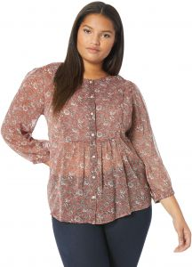 ca3336c6fd9 Lucky Brand Women s Plus Size Floral Printed Peasant Top