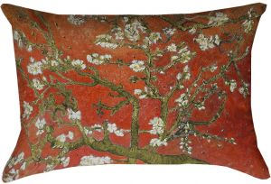 ArtVerse Vincent Van Gogh Almond Blossom in Orange x Pillow-Spun Polyester  Double Sided Print with Concealed Zipper   Insert 88847a0759ac