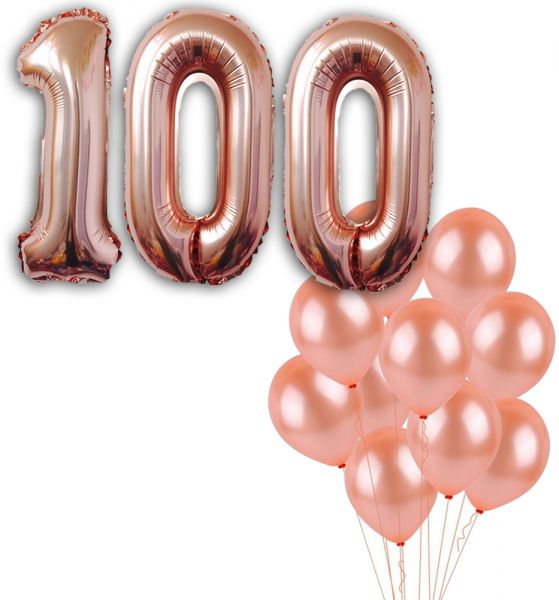 100 Number Balloons Rose Gold Birthday Decorations