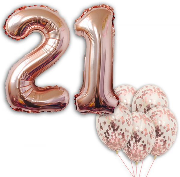 21 Number Balloons Rose Gold Birthday Decorations