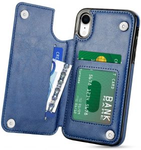 42b2a919 iPhone XR Case With Wallet, PU Leather Protective Case with Card Slot  Holder, Double Magnetic Clasp and Durable Shockproof Cover for iPhone XR  6.1 inch ...