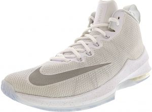 huge discount b61eb 5aa4f Nike Men s Air Max Infuriate Mid Premium White   Metallic Silver Mid-Top  Mesh Basketball Shoe - 10.5M