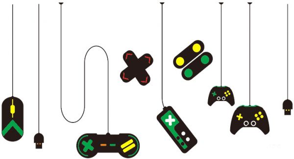 Game Console Game Handle Decorative Chandelier Wall Sticker Internet