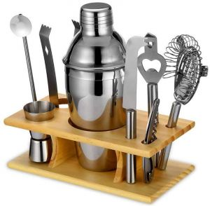 97121c174 9pcs Practical Cocktail Shaker Set 550ML Stainless Steel Mixer Drink  Bartender Martini Tools Kit with Wood Stand Bar Wine Tools
