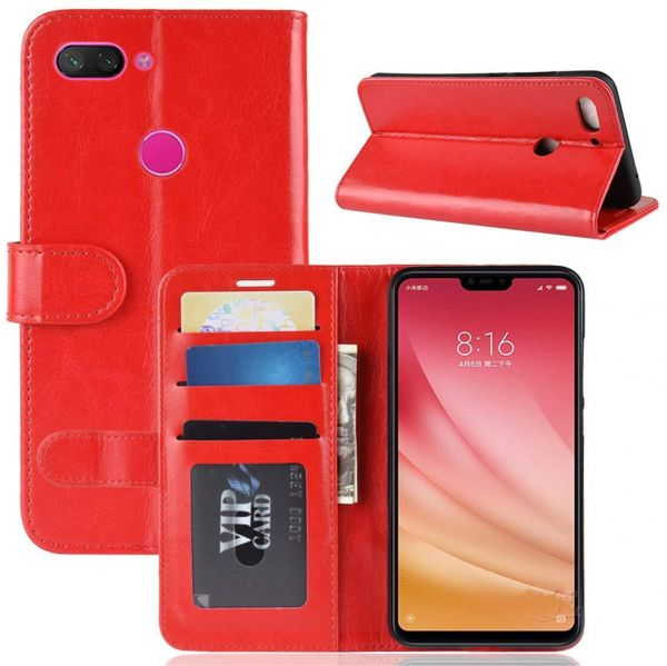 XIAOMI MI 8 LITE Case PU Leather Case Wallet Flip Cover Slim Phone Case Card Slots Viewing Stand Shock Absorbing Protective Case RED | Souq - UAE