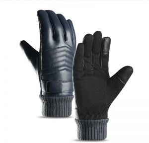 Winter cycling leather gloves for men with fleece outdoor thickening skiing  waterproof touch screen outdoor sports warm motorcycle windproof 7fcc2e455