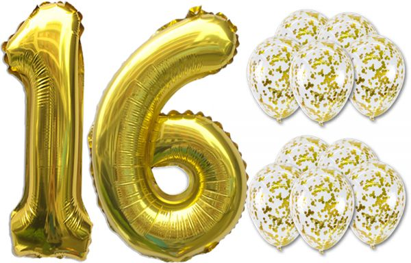 16 Number BalloonsGold