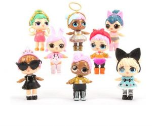 8Pcs/Set Kawaii Doll Collectable Action Figure 8-9cm LOL Doll Dress Toys for Baby Girls Birthday Gift