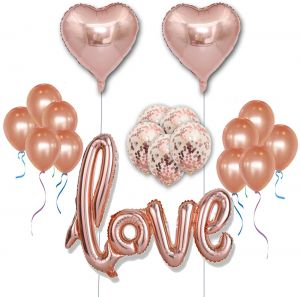 18 PCS Rose Gold Balloon Set Including 12 Latex Balloons18 Foil Balloons12 Confetti Balloons 40 Love For Wedding Decoration Happy Birthday