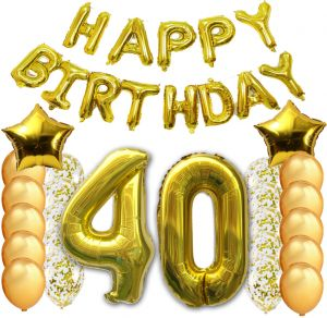 40pcs 40th Happy Birthday Letter Party Balloons Banner Gold Decoration Supplies Big Foil Mylar Thick Latex For