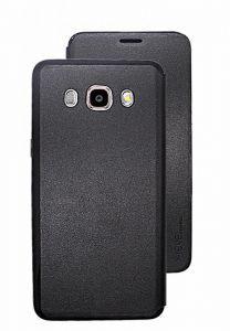 Samsung Galaxy J5 2016 (J510F) X-level Fib Color Leather Flip Case Cover with Screen Protector for Galaxy J5 2016 Cover Black