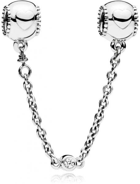 Pandora 796457CZ-05 Sterling Silver Safety Chain Charm for Women - Silver