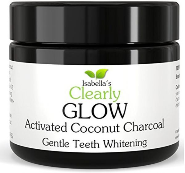 Isabella s Clearly GLOW COCONUT Teeth Whitening Activated Charcoal Powder, pure Pure Food Grade Non- GMO. Better than Strips, Toothpaste, Bleach. Removes Stains, Plaque. USA (25g, 3 Months Supply)