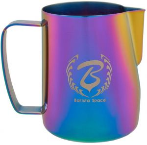 Caffeinehouse777 – 350ML or 12oz Rainbow - Stainless Steel Milk Pitcher Milk Frothing Jug for Coffee Latte Art for Espresso Coffee Cup and Barista Craft ...