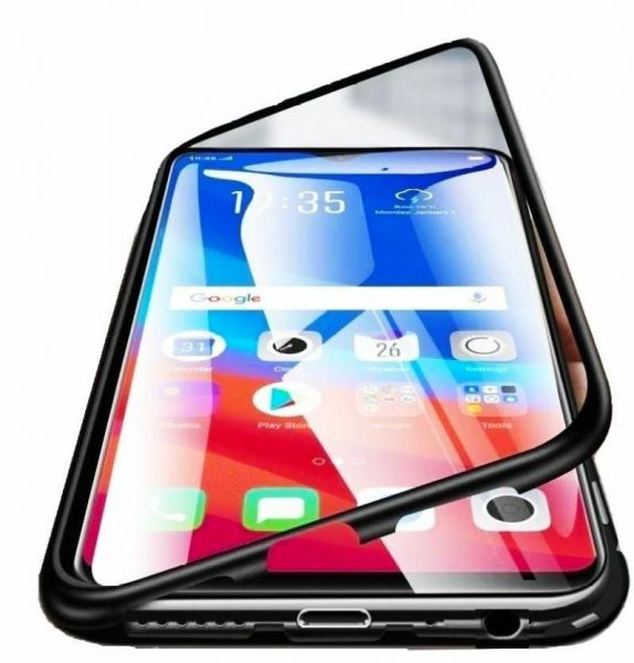 b068b1a815d Case 360 degree full cover 2 pieces metal frame Magnetic tempered glass back  case for Realme 2 pro