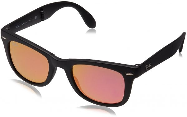 787478fd18 Ray-Ban FOLDING WAYFARER - MATTE BLACK Frame GREEN MIRROR FUXIA ...