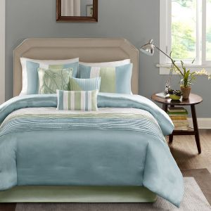 Madison Park Amherst King Size Bed Comforter Set Bed In A Bag - Green,  Aqua, White, Pieced Stripes - 7 Pieces Bedding Sets - Ultra Soft Microfiber  ...