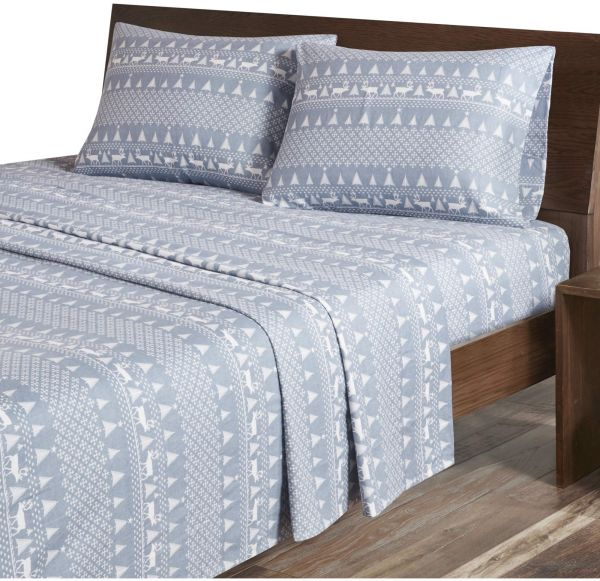 Woolrich Flannel King Bed Sheets Casual Lodge Cabin Bed Sheet Blue