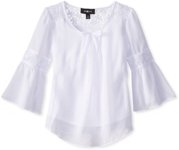 6bdd77449cff Amy Byer Big Girls  Top with Lace Inset Bell Sleeves