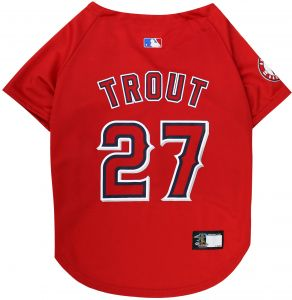 MLBPA Dog Jersey - Mike Trout  27 Pet Jersey - MLB Los Angeles Angels Mesh  Jersey bfbd435a2