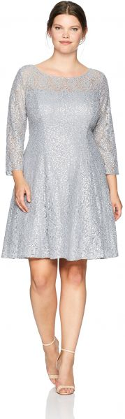 6f7a603d055 S.L. Fashions Women s Plus Size Lace and Sequin Fit and Flare Dress ...