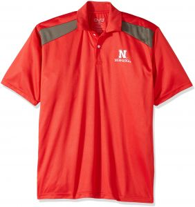 c86c3516 NCAA Nebraska Cornhuskers Men's CTR Logo Polo Shirt, Medium, Red/Charcoal