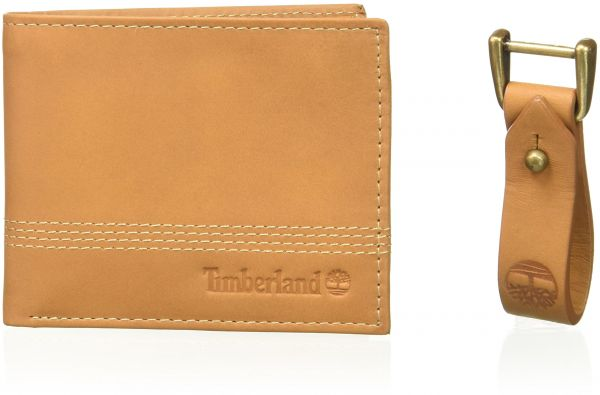 d1dab5202f74 Timberland Men s Leather Slimfold Wallet with Matching Fob Gift Set ...