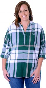 2a969e75851 UG Apparel NCAA Michigan State Spartans Adult Women Plus Size Plaid Tunic,  1X, Green/White