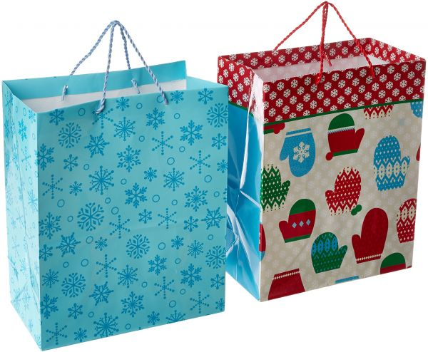 Hallmark Large Holiday Gift Bags Mitten and Snowflakes (Pack of 2) | Souq - UAE  sc 1 st  Souq.com & Hallmark Large Holiday Gift Bags Mitten and Snowflakes (Pack of 2 ...