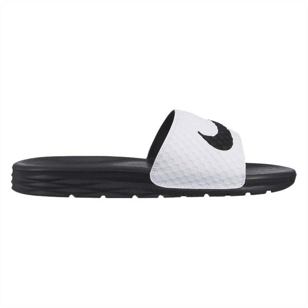 1cab72573 Nike Benassi Solarsoft Slide Sandals for Men - White Black